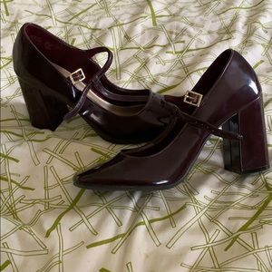 Patten leather burgundy block heels